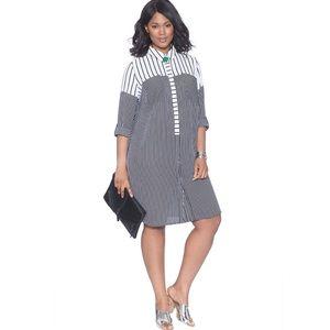 Eloquii Striped Button Down Shirtdress Black Dress